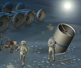 Artist's concept of astronauts with a telescope on the moon
