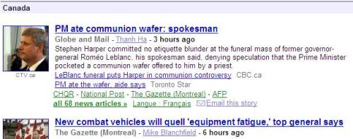 Communion Wafer Stephen Harper