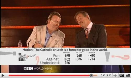 Hitchens and Fry, upon hearing the results of the Intelligence Squared debate on whether the Catholic Church is a force for good in the world.