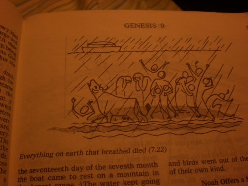 I only had to get to page 11 to see images of animals and people, including frightened children, being drowned by God.
